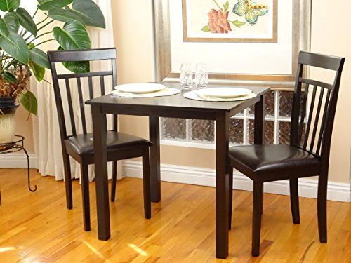 - Rattan Wicker Furniture 3 Pc Dining Room Dinette Kitchen Set Square Table and 2 Warm Chairs in Espresso Black Finish