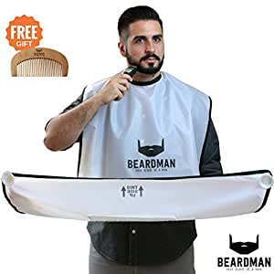 beardman beard catcher cape the improved beard apron with strong suction cups. Black Bedroom Furniture Sets. Home Design Ideas