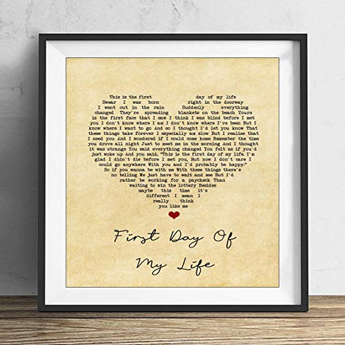 19 saijhii Bright Eyes First Day of My Life Vintage Heart Song Lyric Print Gift Present Home Decoration 10X10in