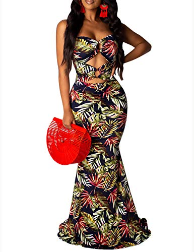 - Women's Casual Floral Strapless Beach Maxi Dress Tube Top Cut Out Long Skirt Sundress Cover Up