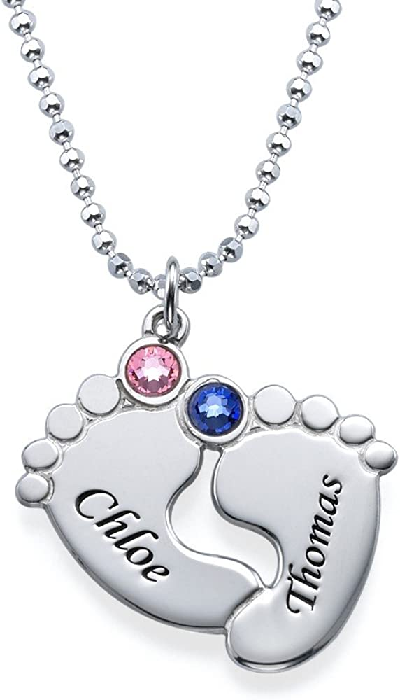 Custom New Baby Boy Feet Glass Pendant /& Chain Personalized Jewelry Name /& Date
