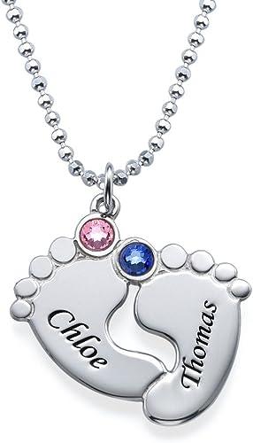 Personalised 3 Children Child Kid Feet Foot Birthstone Necklace Jewellery Silver