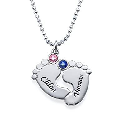 Amazon 925 silver personalized engraved baby feet pendant with amazon 925 silver personalized engraved baby feet pendant with birthstones custom necklace with any name jewelry aloadofball Choice Image