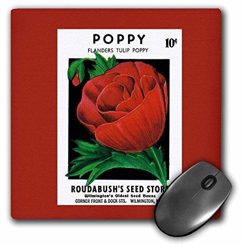 Price comparison product image 3dRose LLC 8 x 8 x 0.25 Inches Mouse Pad, Poppy Flanders Tulip Poppy With Pretty Red Flowers - (mp_170712_1)