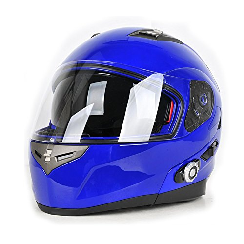 Motorcycle Helmets,FreedConn Flip up Dual Visors Full Face Helmet with Built-in Bluetooth Intercom Communication System(Range 500M,2-3Riders Pairing,FM radio,Voice Dial,Waterproof,XL,Blue)