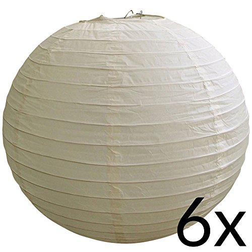 "UPC 712395873052, Quasimoon BULK CASE 8"" Beige / Ivory Round Paper Lantern, Hanging Decorations, Even Ribbing, Hanging Decoration (6 PACK) by PaperLanternStore"
