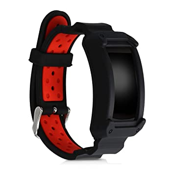 kwmobile Pulsera para Samsung Gear Fit2 / Gear Fit 2 Pro - Brazalete de Silicona sin Fitness Tracker en Negro/Rojo