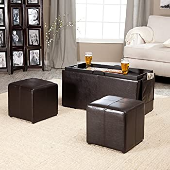 Linon Hartley Dark Brown Coffee Table Storage Ottoman With Tray   Side  Ottomans U0026 Side Pocket