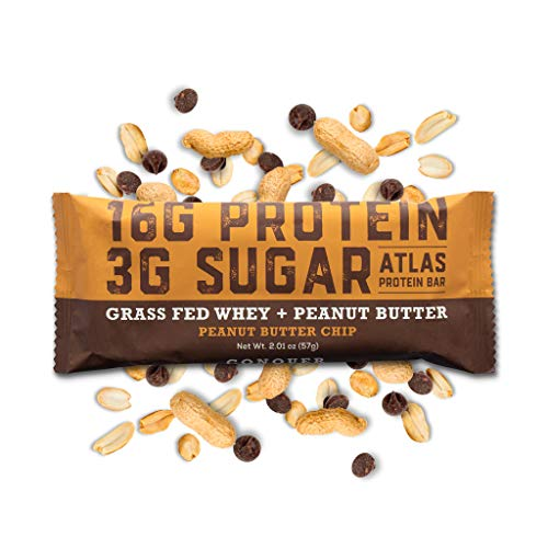 Atlas Bar - Keto/Low Carb Friendly Protein Bar, Peanut Butter Chip, 2.01 Ounce (10-Pack) - Grass Fed Whey, Low Sugar, Clean Ingredients, All Natural, Gluten Free, Soy Free, and GMO Free