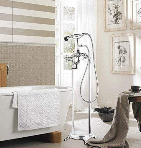 ZY-YY 寒気バスタブTorneira浴室クローム51005フロアマウントシャワーセットのダブルは、容器化粧洗面シンクの蛇口、ミキサータップ、ホワイトを処理します
