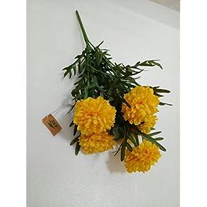 Thai Artificial Yellow Marigold Bunch, Artificial flowers, Marigold flower, Yellow Flowers, Marigold Yellow, Calendula officinalis,(9 stem per 1 case) By Jakapan. 14