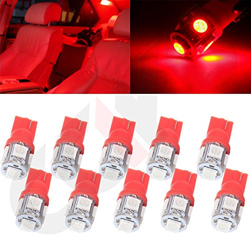 CCIYU QTY(10) T10 W5W 194 5-5050-SMD Side Wedge License Interior LED Light Lamps 1250 1251 1252 Red
