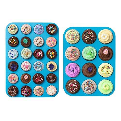 Dreamland 2 Silikon Backformen Set, 12er Muffinform Ø 5,5cm Cupcake Pan und 24er Mini-Muffinform Ø 3,5cm, Muffin Tin, Muffin Pan, auch für Käsekuchen, Pie, Muffin, Obstkuchen usw.