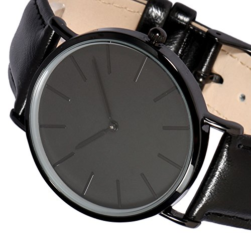 - Black Stainless Steel Mens Quartz Wrist Watch Leather Strap Analog Display Buckle Business