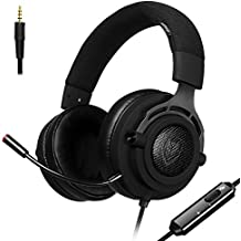 PS4 Gaming Headset with Microphone Mute Fabric Headband, Xbox One PC Stereo Headphones, 3.5mm Wired Over Ear in-Line Volume Control Noise Cancelling for Computer, Laptop, Mac, Nintendo Switch (Black)