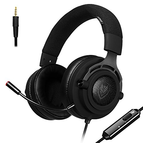 Cheap PS4 Gaming Headset with Breathing Fabric Headband, Detachable Microphone, 45° Rotatable Earcups, Mute Volume Control, Xbox One PC, Noise Cancelling for PC, Laptop, Mac, Nintendo Switch (Black)