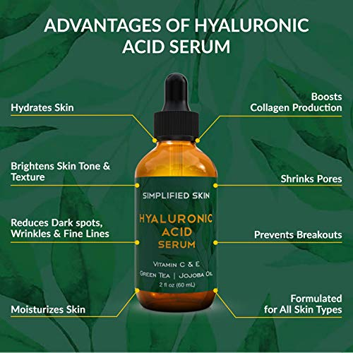 51PYZ9XoaSL - Hyaluronic Acid Serum for Face & Eyes (2 oz) with Vitamin C, E & Green Tea for Anti-Aging, Moisturizing, Antioxidant & Wrinkle Treatment. Best Hydrating Pure Facial Serum by Simplified Skin