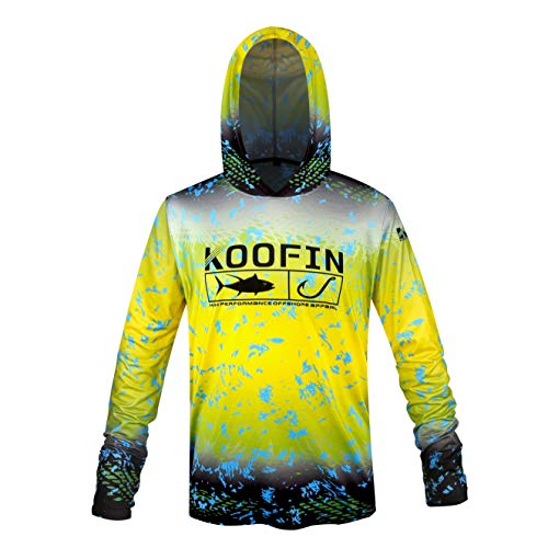 Performance Sunblock - Performance Fishing Hoodie UPF 50 Dri Fit Sunblock Shirt Long Sleeve Quick-Dry Fade Pattern Yellow