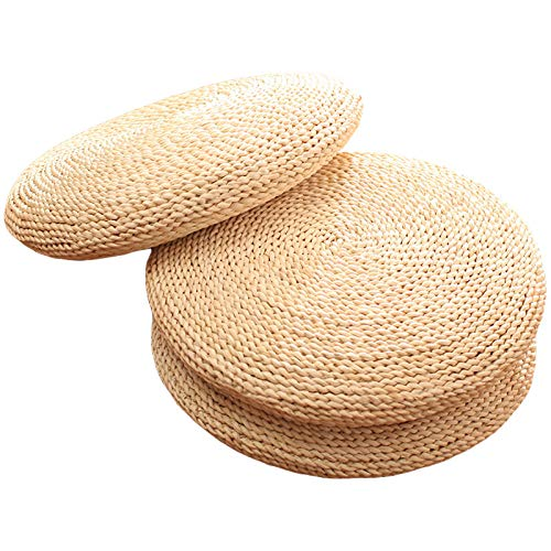 ZooBoo Floor Meditate Sitting Cushion - Japanese Traditional Tatami Round Braided Nature Handmade Straw Woven Seat Cushion - Diameter 19.7""