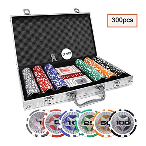 KAILE Clay Poker Chips Set 300 PCS Heavy Duty 13.5 Gram Chips Texas Holdem Cards Game Blackjack Gambling Chips with Aluminum Case (300 pcs) -