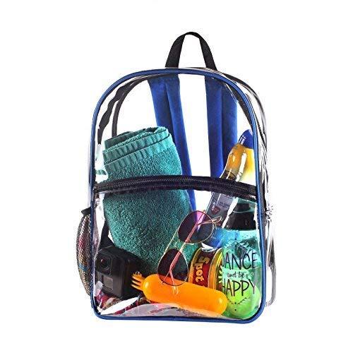 Clear See Through Transparent Backpack for Bookbag, Workbag, Daypack Easy Stadium Security Check Bag, Black Reinforced Adjustable Shoulder Straps for Extra Durability