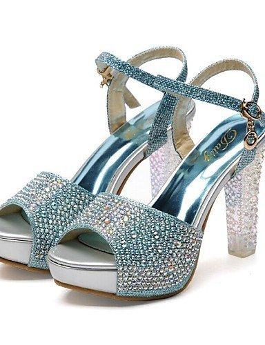 ShangYi Damenschuhe - Sandalen - Hochzeit / Kleid / Party & Festivität - Glanz - Blockabsatz - Absätze / Plateau - Blau / Silber / Gold Blue