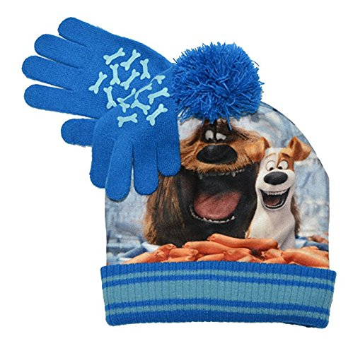 Beanie Cap - Secret Life of Pets - Max Blue w//Gloves Set Youth//Kids Hat 135724 Accessory Innovations
