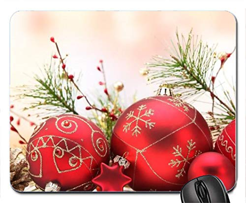 Matte red Christmas Ball Ornaments 283 Rubber Mousepad Design Durable Mouse Mat Computer Accessories Gaming Mouse ()
