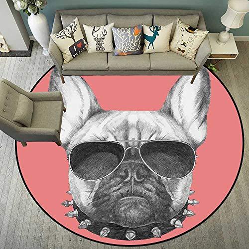 Circularity Floor mat entryway Round Indoor Floor mat Entrance Circle Floor mat for Office Chair Wood Floor Circle Floor mat Office Round mat for Living Room Pattern 4'7