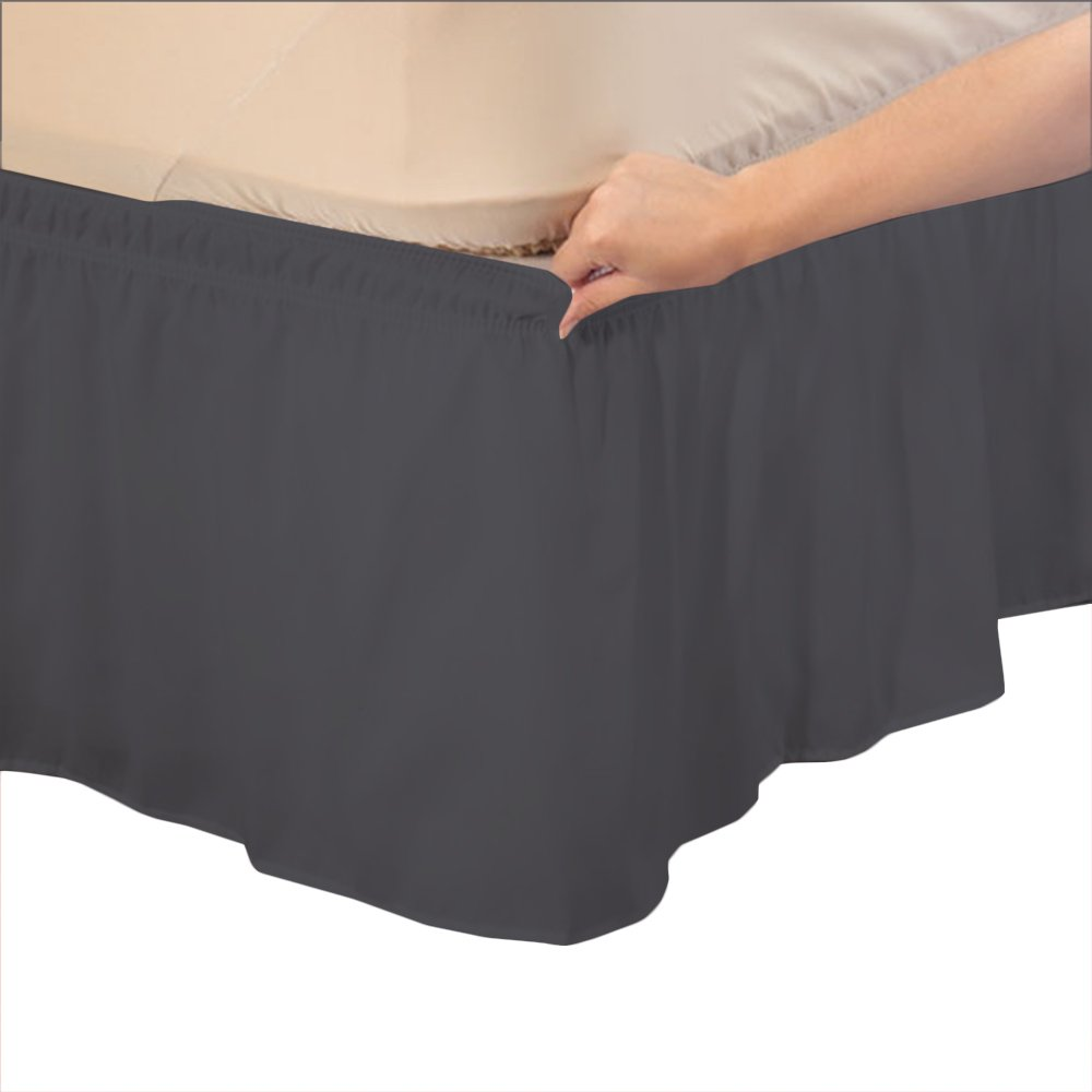 Relaxare Short Queen 300TC 100% Egyptian Cotton Elephant Grey Solid 1PCs Wrap Around Bedskirt Solid (Drop Length: 12 inches) - Ultra Soft Breathable Premium Fabric