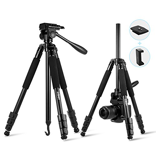 Albott Camera Tripod,60 inch Compact Travel DSLR Tripod with Phone Stand for Canon,Nikon,Sony,Samsung,Olympus Camera and Phone,Load up to 13.23lb/6.6KG by Albott