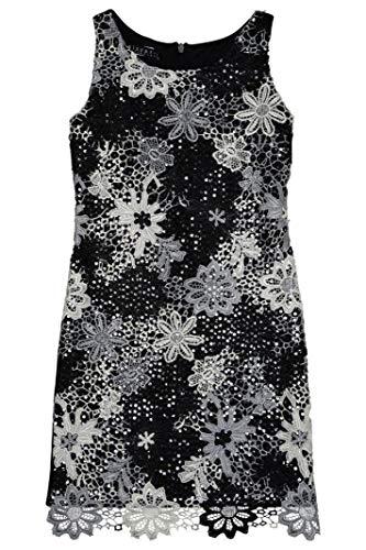 Biscotti Girls Modern Princess Black, Ivory & Silver Lace Sequin Dress (8, Multicolor) ()