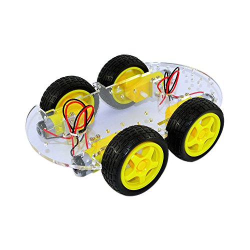 4WD Smart Car Robot Chassis for Arduino with Gear Motor Wheel Tyre DIY Car Kit by Aigh Auality shop