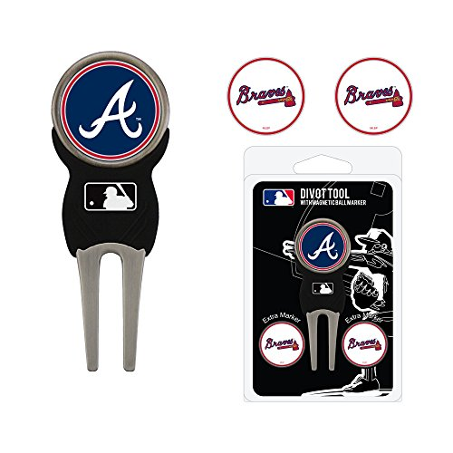 Team Golf MLB Atlanta Braves Divot Tool with 3 Golf Ball Markers Pack, Markers are Removable Magnetic Double-Sided Enamel
