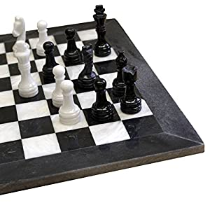 Round Black Marble and Fossil Handcrafted Chess Sets in Velvet Gift Box