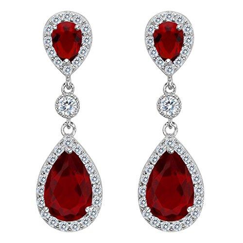 (EleQueen 925 Sterling Silver Full Prong Cubic Zirconia Birthstone Teardrop Bridal Dangle Earrings Ruby Color)