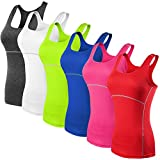 Neleus Women's 3 Pack Dry Fit Compression Long Tank Top