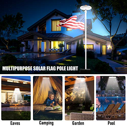 Solar Flag Pole Light 128 LED, 640 Lumens Solar Powered Flagpole Lights for Most 15 to 25Ft Flag Poles 100% Flag Coverage, 2 Modes 2500MAH Downlight Last Up to 10 Hrs, IP67 Waterproof Auto On/Off