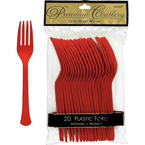 Amscan Premium Apple Red Plastic Forks, 20ct, 9.7 x 5.7