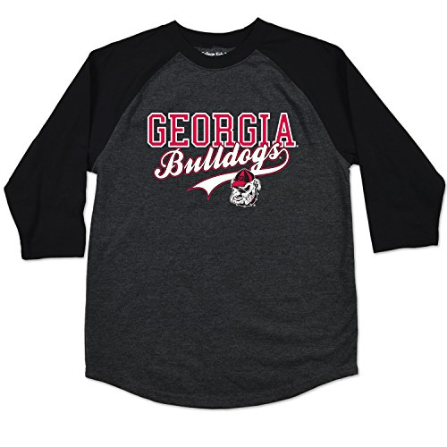 College Kids NCAA Georgia Bulldogs Youth Home Run Raglan Tee, Size 10-12/Medium, Black