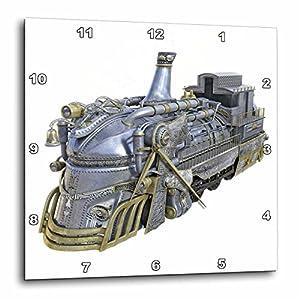 3dRose Boehm Graphics Steampunk – A Chrome and Gold Steampunk Train Engine – Wall Clocks