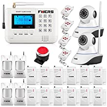 Fuers F-Q2 433mhz GSM Telephone Line Auto-Dial SMS Home/House Burglar Alarm System Voice Prompt LCD Display Garden Alarm System Wired Siren + 2PCS IP Camera