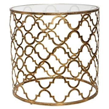 Uttermost 25016 Quatrefoil End Table, Antique Gold