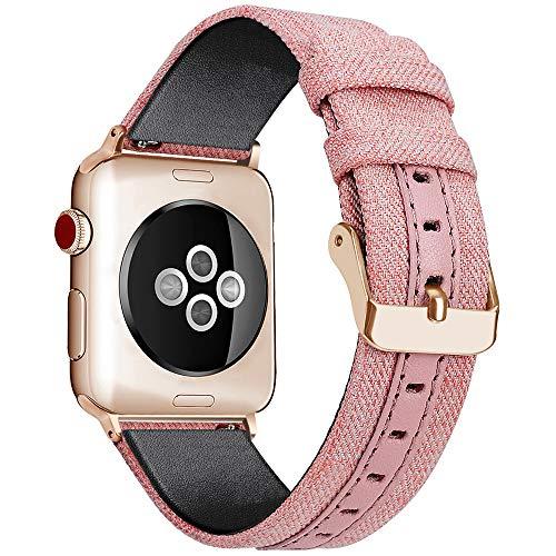 WOOLIY para Apple Watch Band Mujeres Tejidas Lona Nylon iWatch Bandas reemplazo Pulsera Correa para 38mm 40mm 42mm 44mm Nuevo...