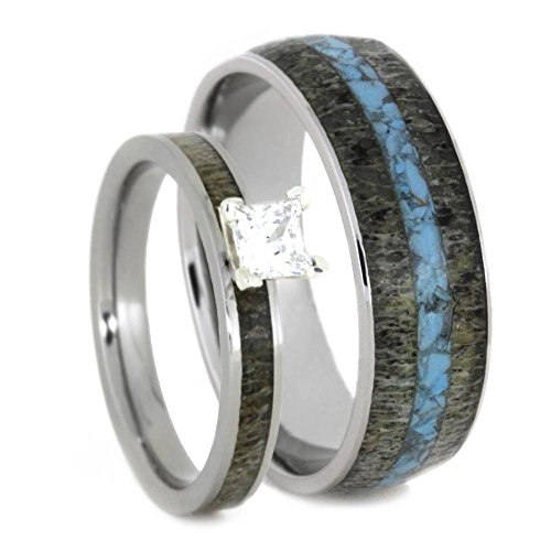 Princess-Cut Diamond, Deer Antler Engagement Ring and Turquoise, Antler Titanium Band, His and Hers Wedding Band Set, M 8-F9 by The Men's Jewelry Store (Unisex Jewelry)