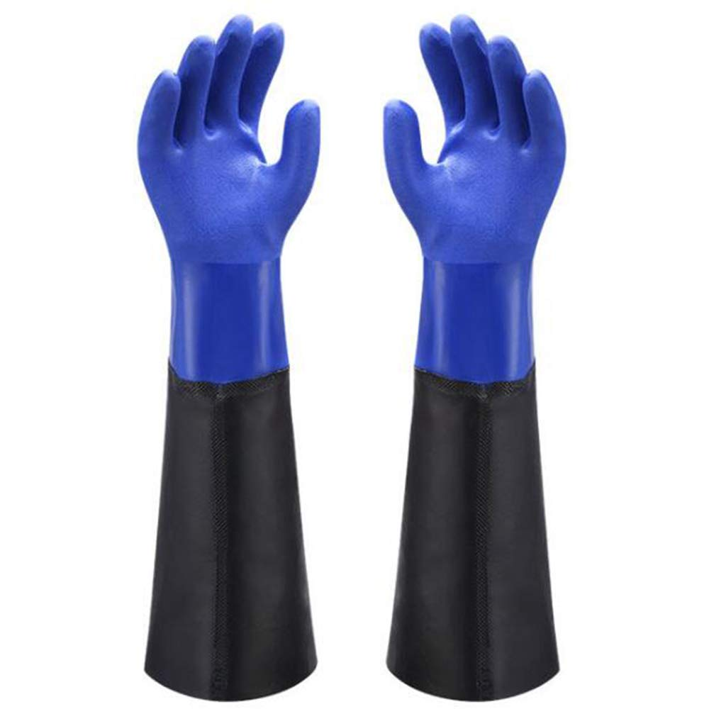 Waterproof PVC Coated Glove with Cotton Liner,Heavy Duty Latex Gloves, Resist Strong Acid, Alkali and Oil,Fishing Operation rubber Gloves -17'', 1 Pair