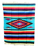 Del Mex Woven Mexican Southwest Large Center Diamond Blanket (Multi-Teal)