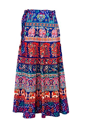 Ayat Cotton Bohemian High-Waisted Women's Skirt Hippie Style One Size (Tie Hippie Print)