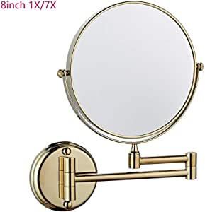 Supershu 8inch Diameter Make Up Mirror Silver 7X Bathroom Nail-Free Wall Mounted Double Side Shaving Mirror Flexible Chrome Vanity Mirror Magnifying Mirror (Zirconium Gold)