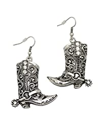 RechicGu Western Wild West Cowgirl Texas Boots Spur Rodeo Fancy Dress Costume Dangle Earrings